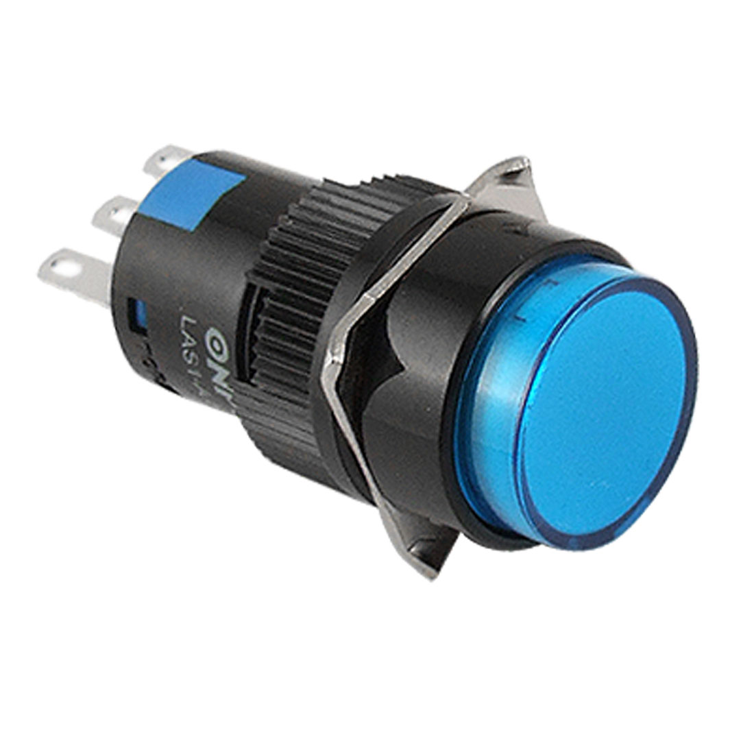 Self-locking Type Blue Round Cap Push Button Switch AC 250V 5A
