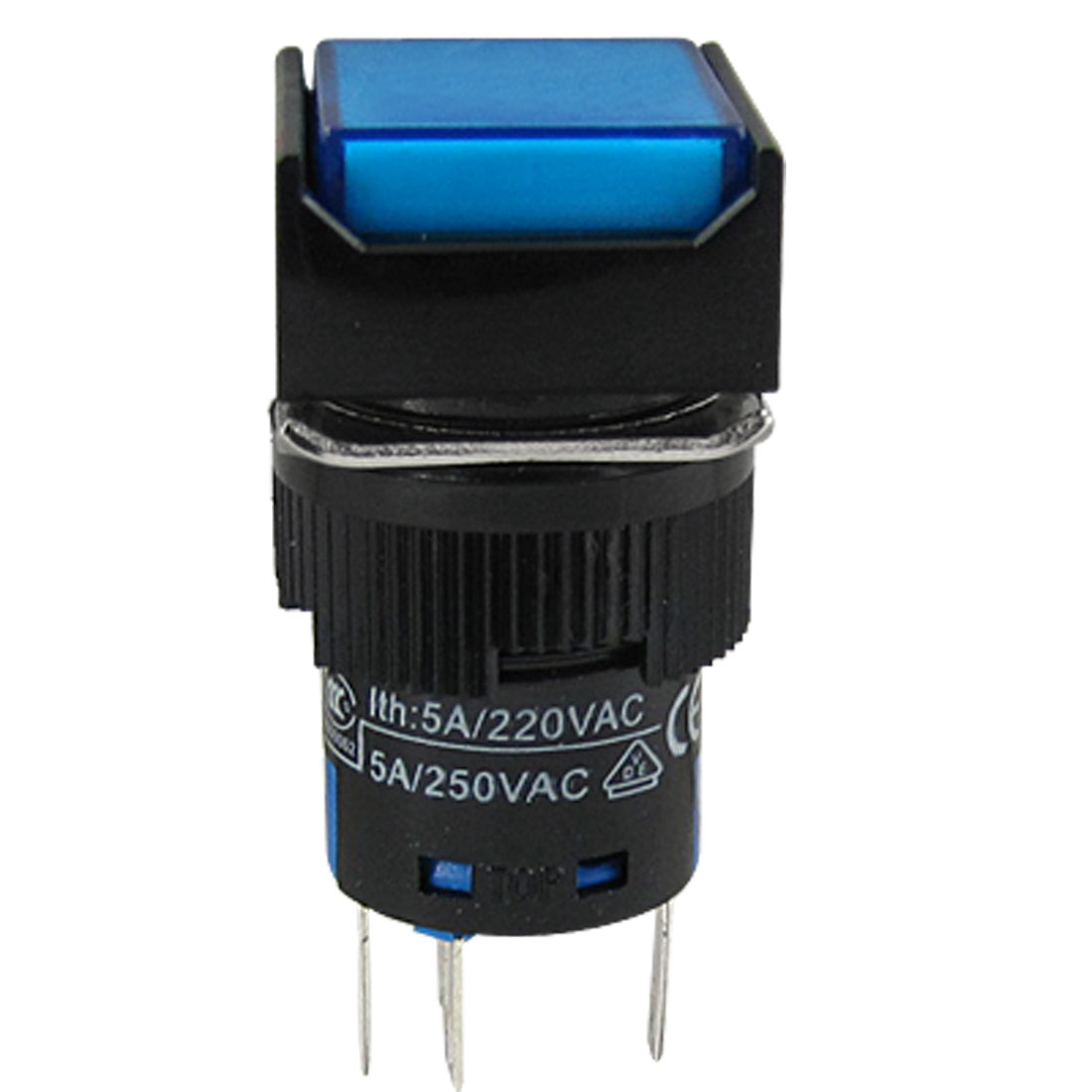 Self-locking Contact Blue Cap Lamp Push Button Switch AC 220V