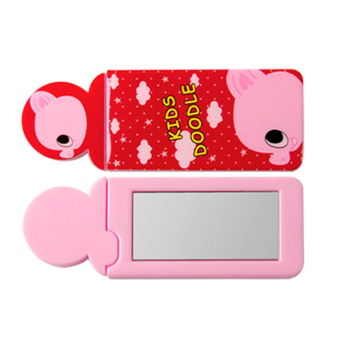 Cute Cartoon Print Makeup Pocket Mirror Pink Red 2 Pcs w Comb