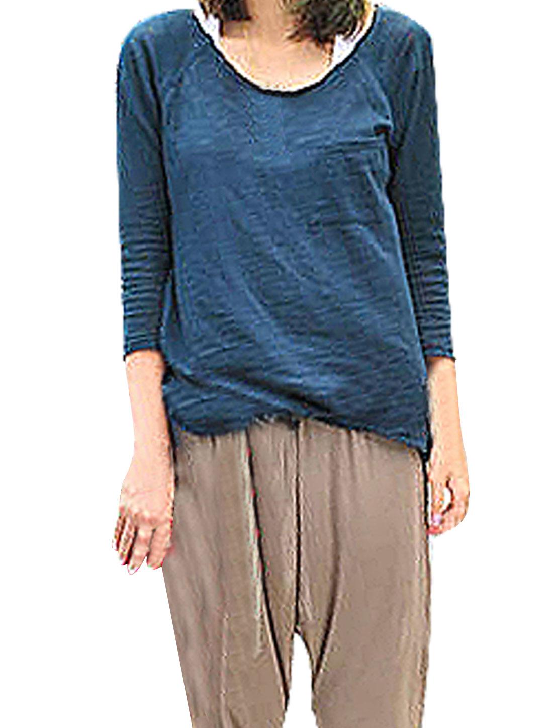 Woman Scoop Neck Long Sleeve Irregular Hem Shirt Top Navy Blue XS