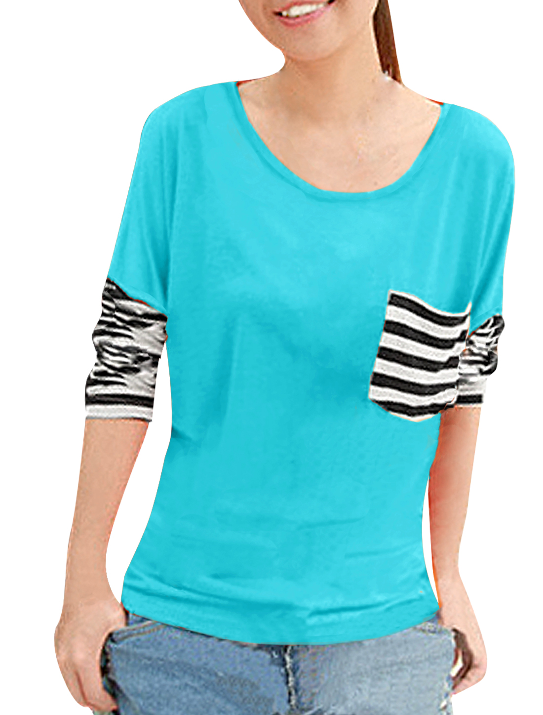 Woman Cyan Blue Scoop Neck Stripe Long Sleeve Shirt S