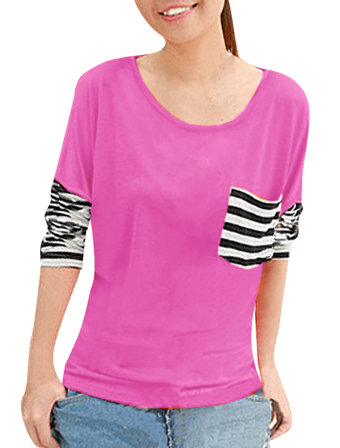 Lady Stripe Breast Pocket Fuchsia Scoop Neck Shirt Top S