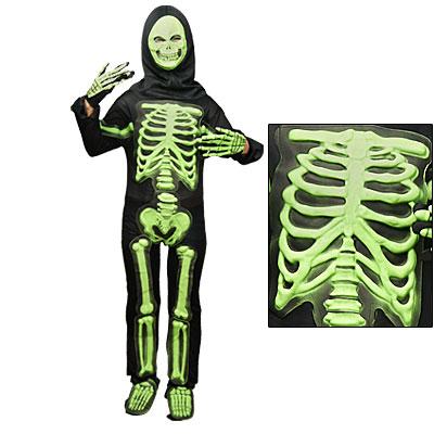 Men Halloween Costume Black Green Skeleton Ghost Jumpsuit