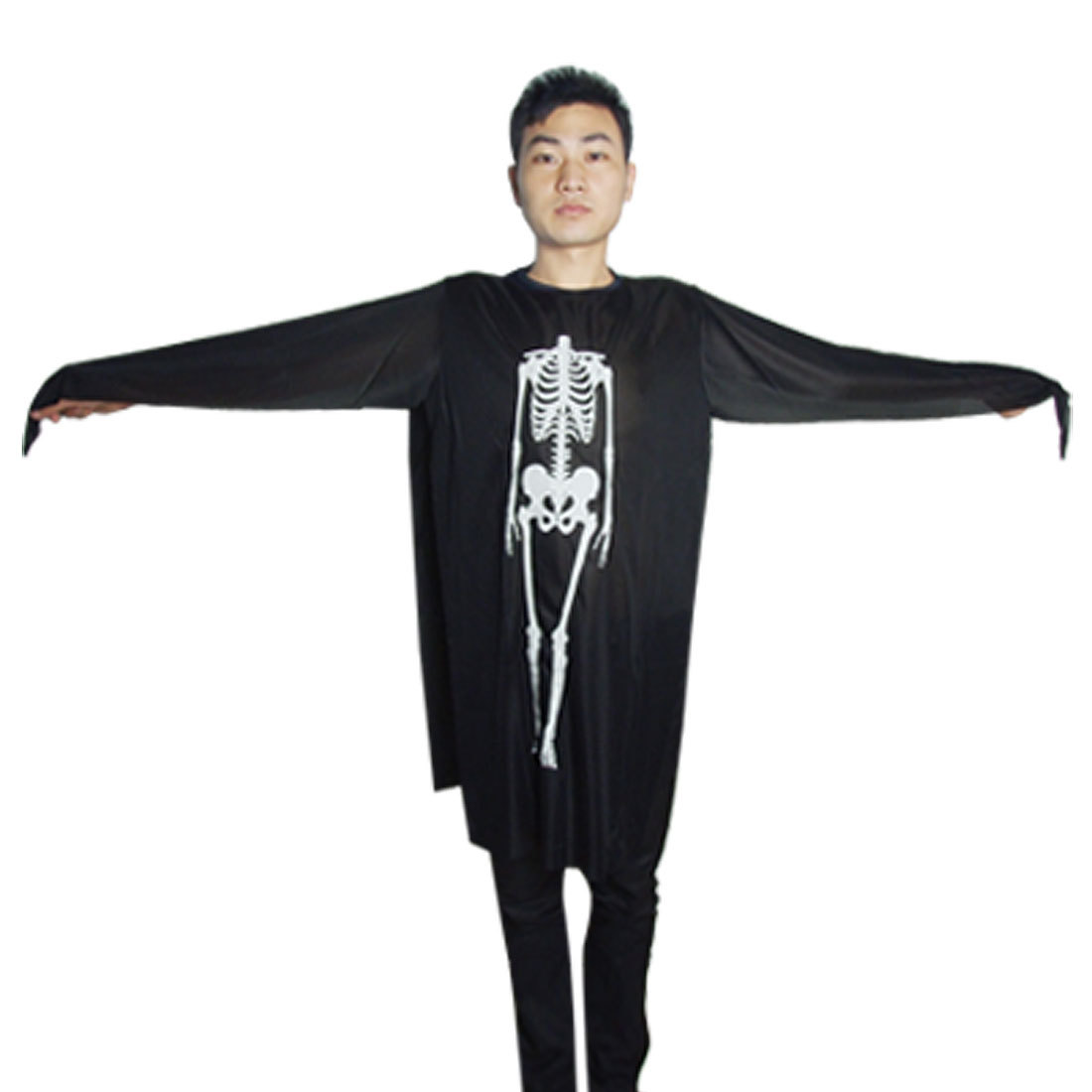 Halloween Men Black Round Neck Skeleton Ghost Robe Costume S