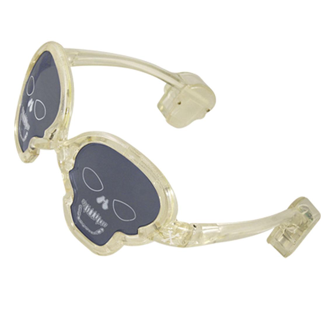Holloween Battery Powered Clear Arm Skull Shape Frame LED Glasses