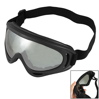 Elastic Strap Black Frame Goggles Skiing Glasses for Lady Man