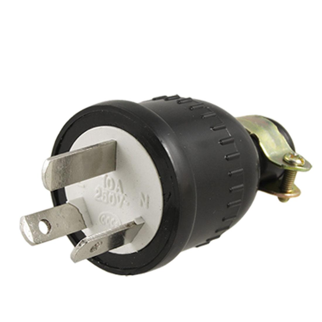 Black Plastic Shell Power Cord Plug Connector Head AC 250V 10A AU Plug