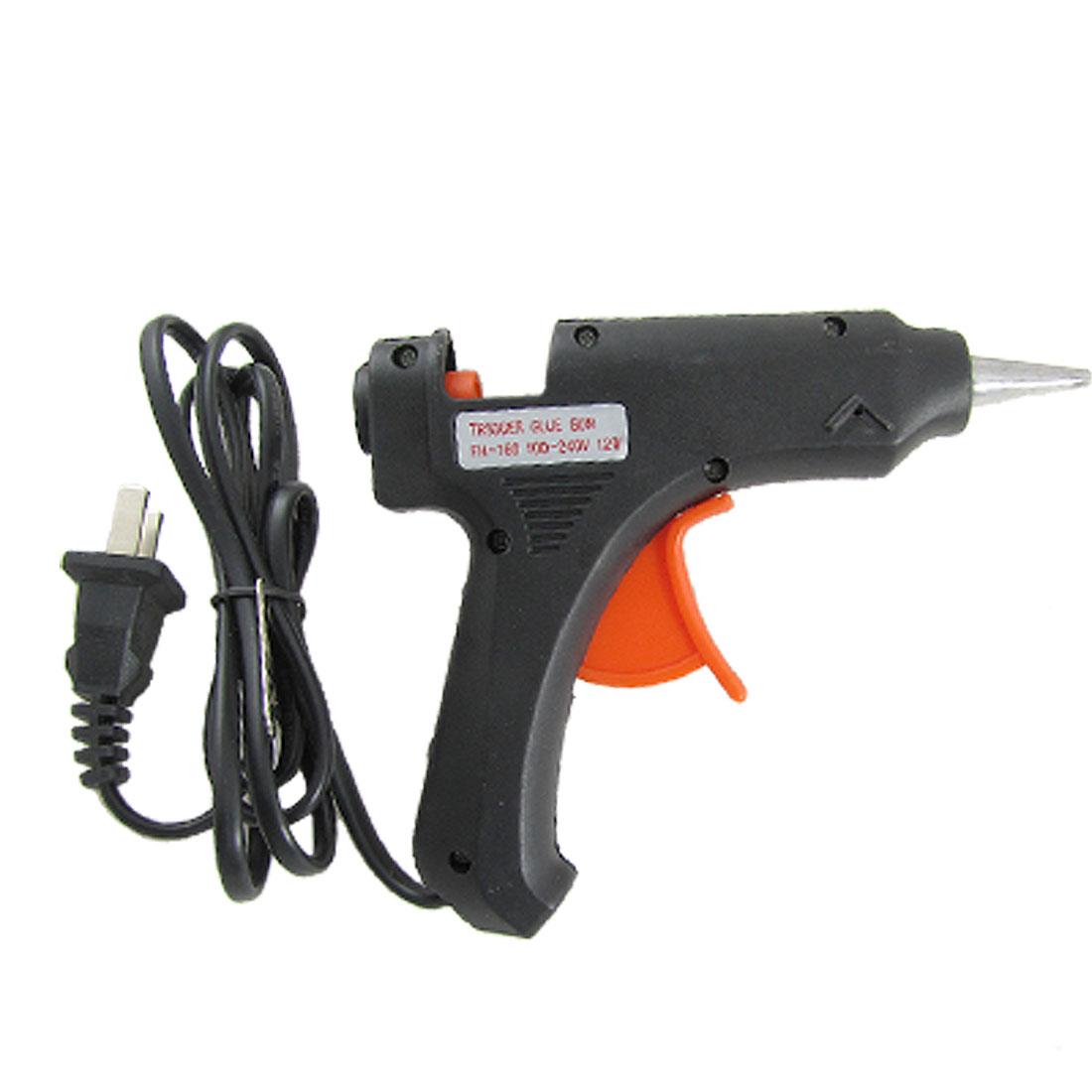 Electric AC 100-240V 12W Heat Hot Melt Glue Gun Black US Plug
