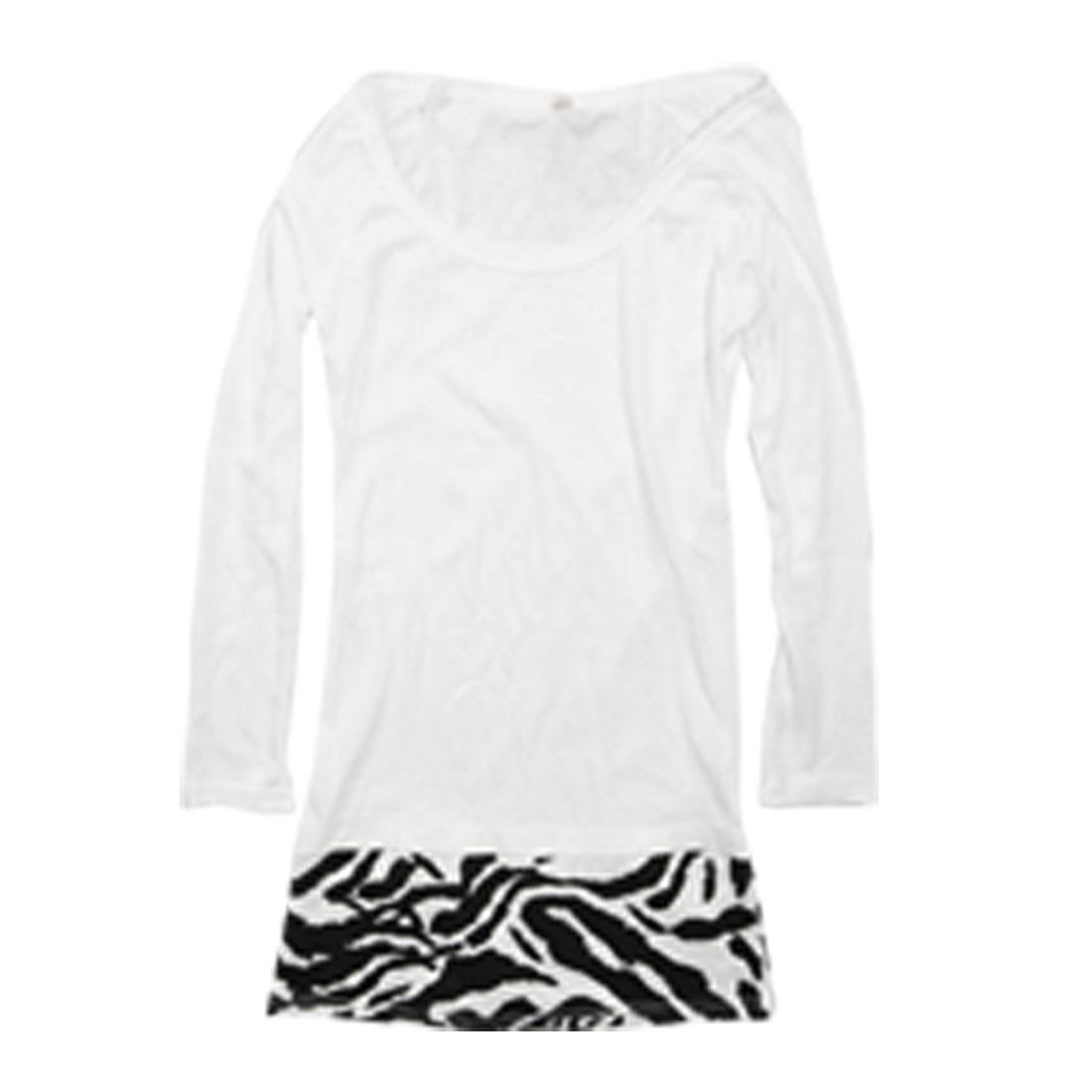 Ladies Scoop Neck Black Zebra Pattern Tunic Dress White XS