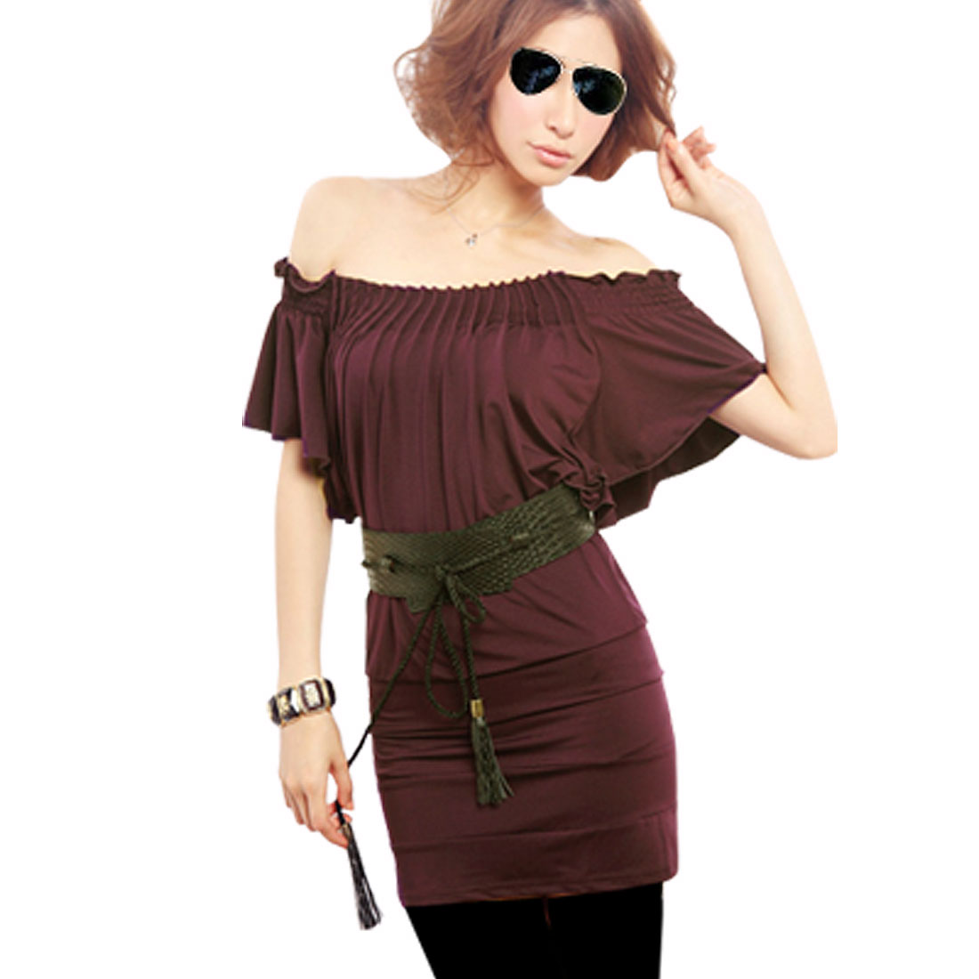 XS Dark Burgundy Stretchy Pleated Off Shlouder Blouse for Lady