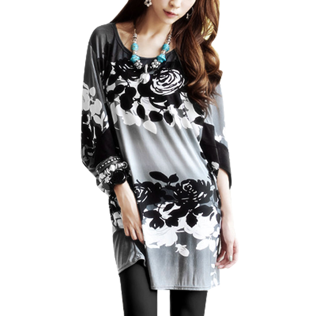 Black Rose Pattern Gray Scoop Neck 3/4 Sleeve Tunic Blouse S for Woman