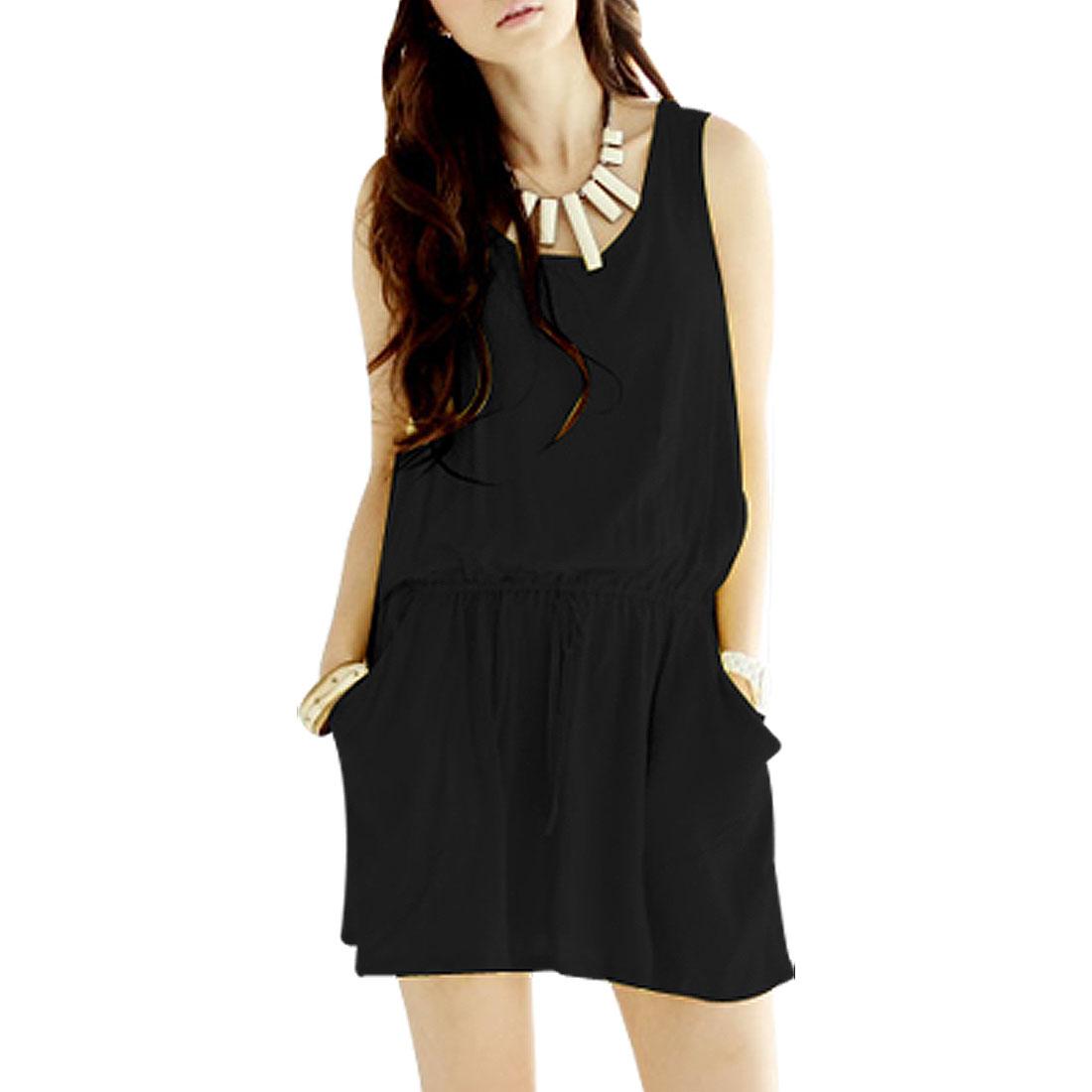 Ladies Scoop Neck Slant Pocket Rackerback Dress Black XS