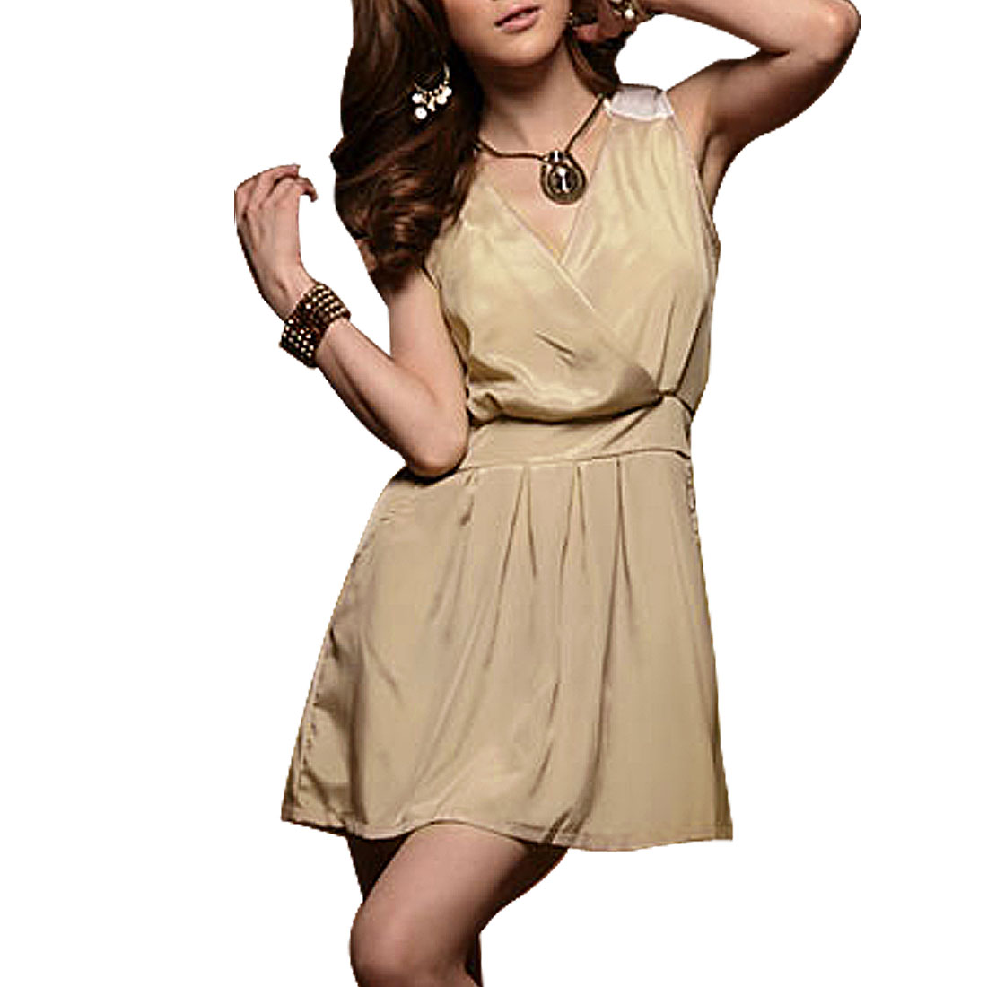 White Patch Shoulder Khaki Crossover V Neck Sleeveless Mini Dress for Woman XS