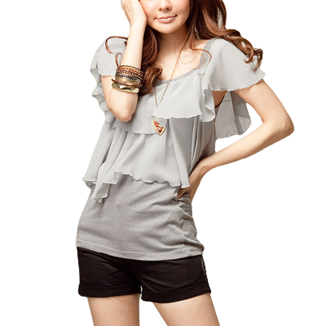 Ladies Scoop Neck Sleeveless Ruffle Flouncing Shirt