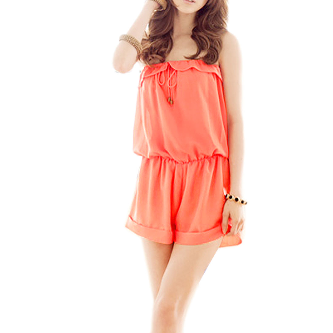 XS Roller Cuff Chiffon Short Jumpsuit Salmon Pink for Lady