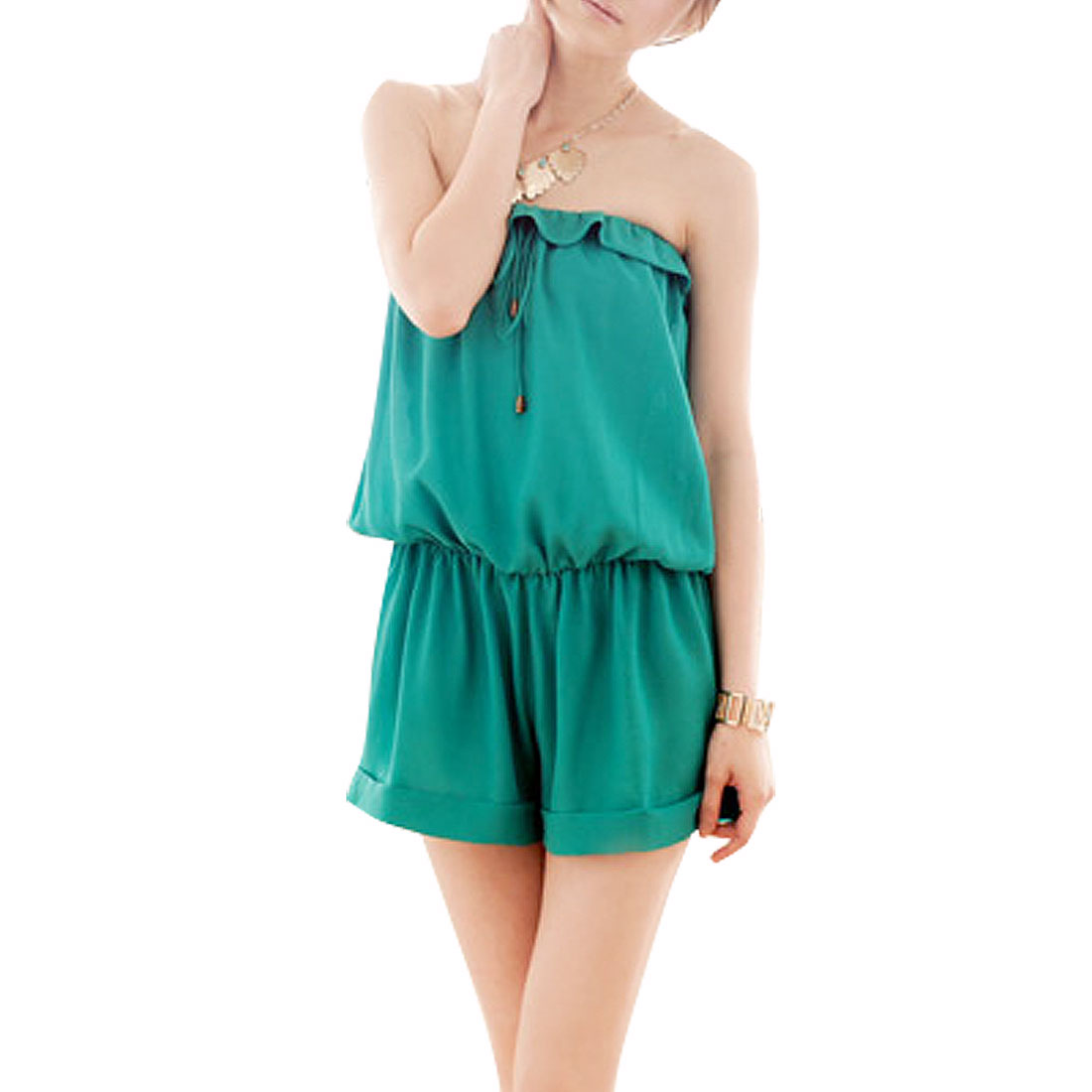 XS Green Elastic Waist Ruffle Hem Short Jumpsuit for Lady