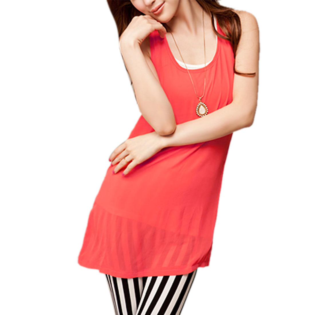 Ladies Hidden Side Zip Up Chiffon Tunic Tank Blouse Red XS