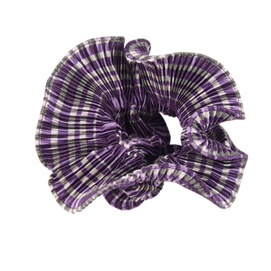 Purple Gray Striped Elastic Hair Tie Band Ponytail Holder