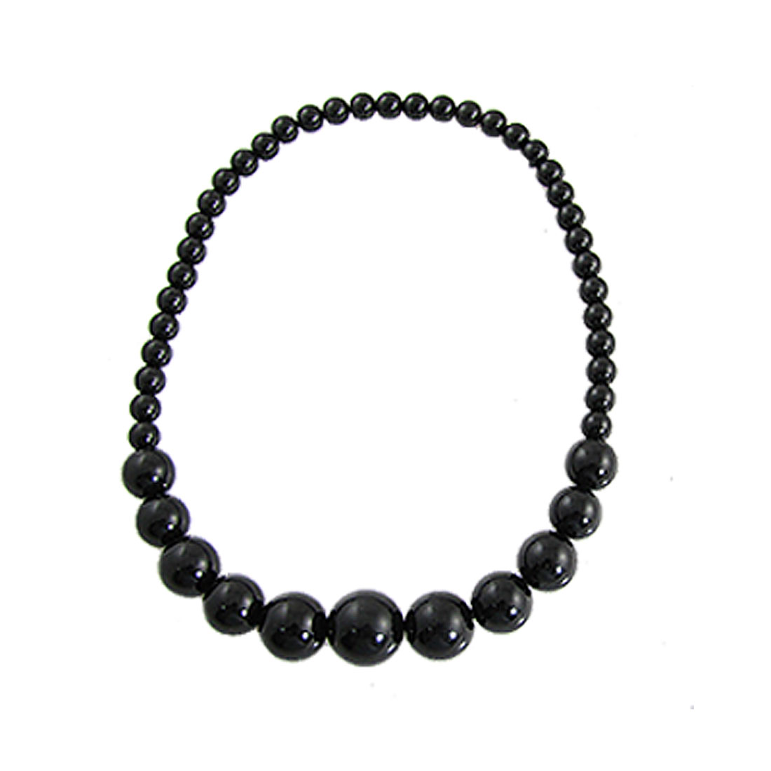 Elastic String Black Plastic Different Size Beads Necklace