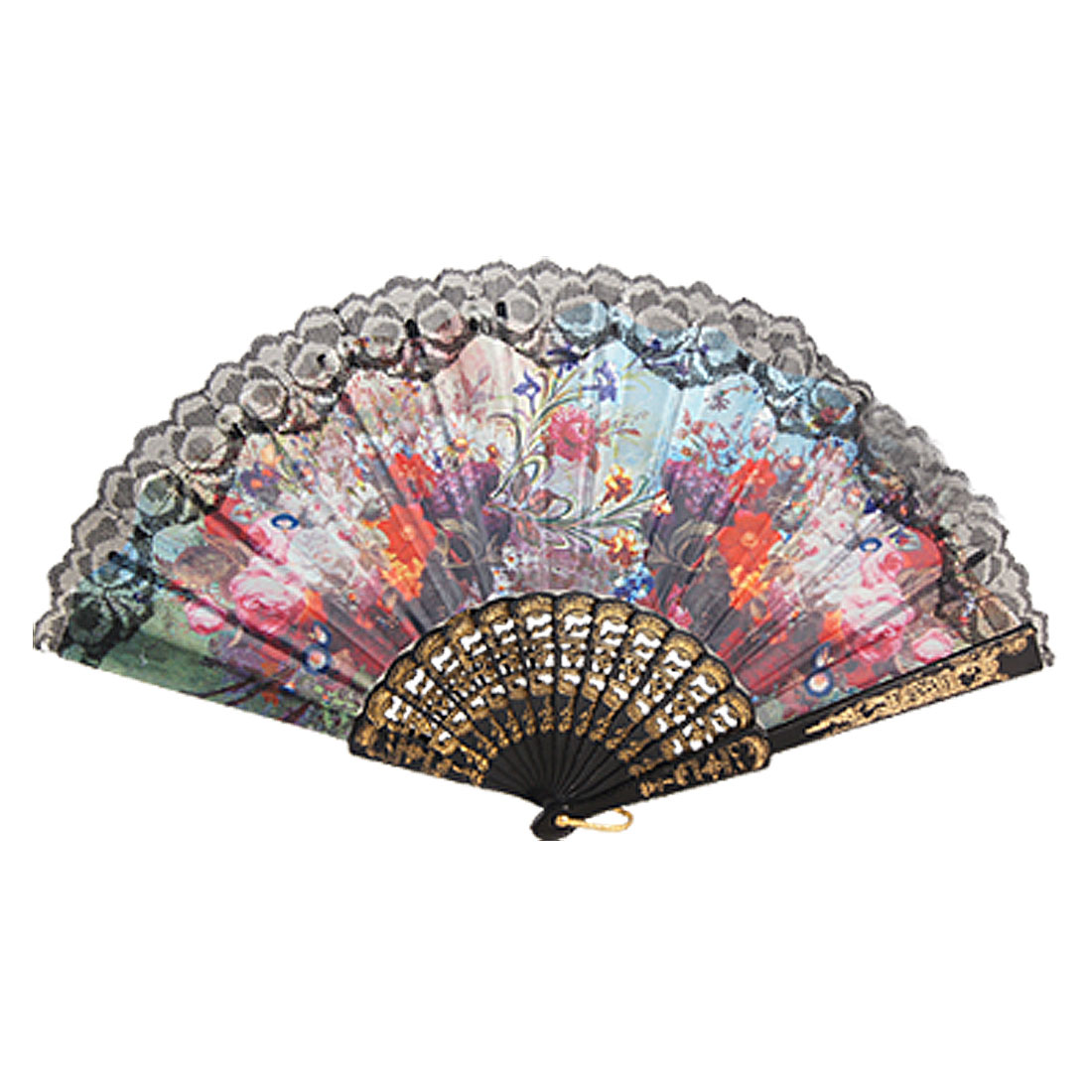 Multicolor Flowers Print Chinese Traditional Style Folding Hand Fan