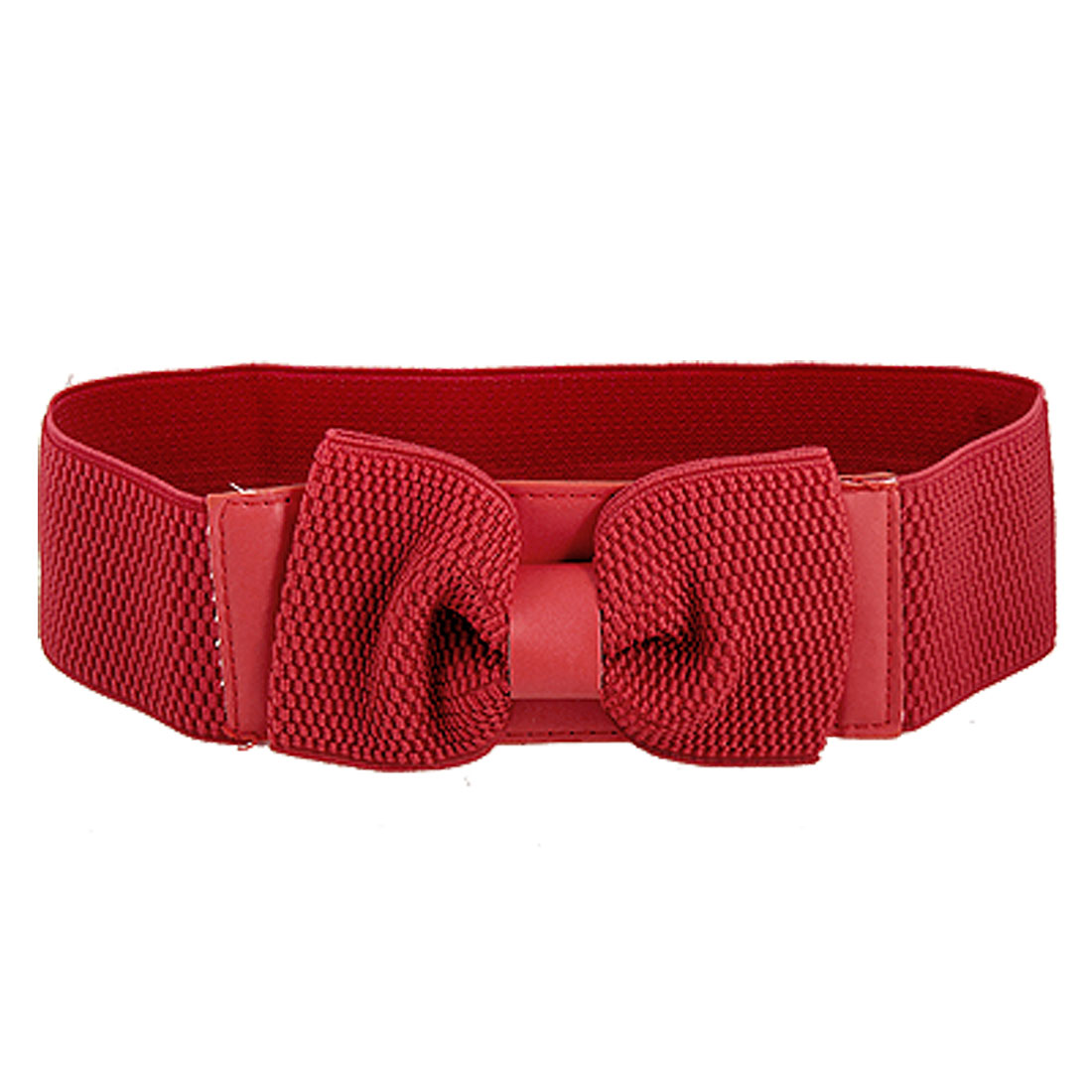 Women Adjustable Faux Leather Band Bow Tie Decor Stretchy Cinch Belt Red