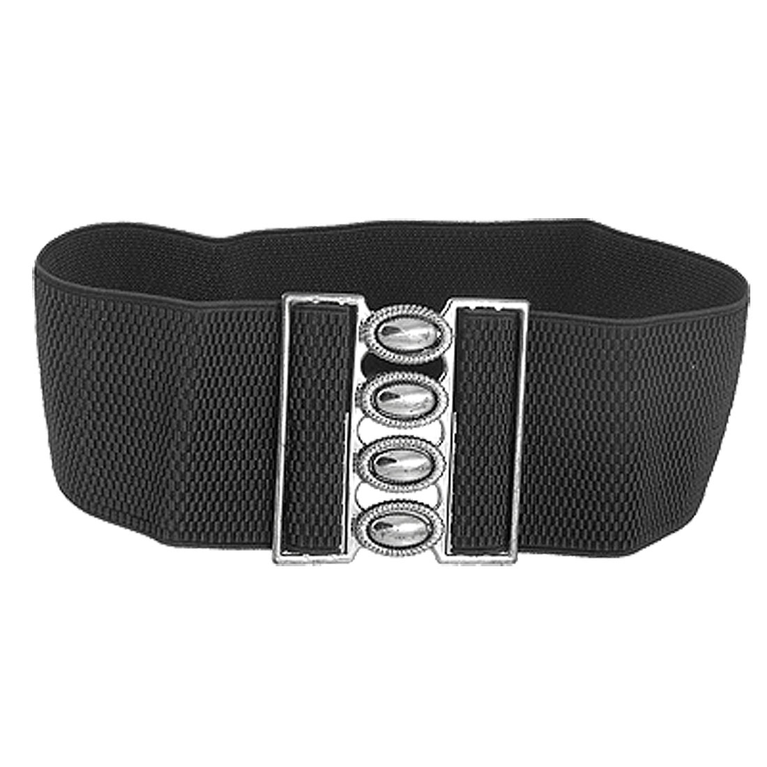 Women Oval Gem Shape Interlocking Buckle Elastic Waist Belt Black