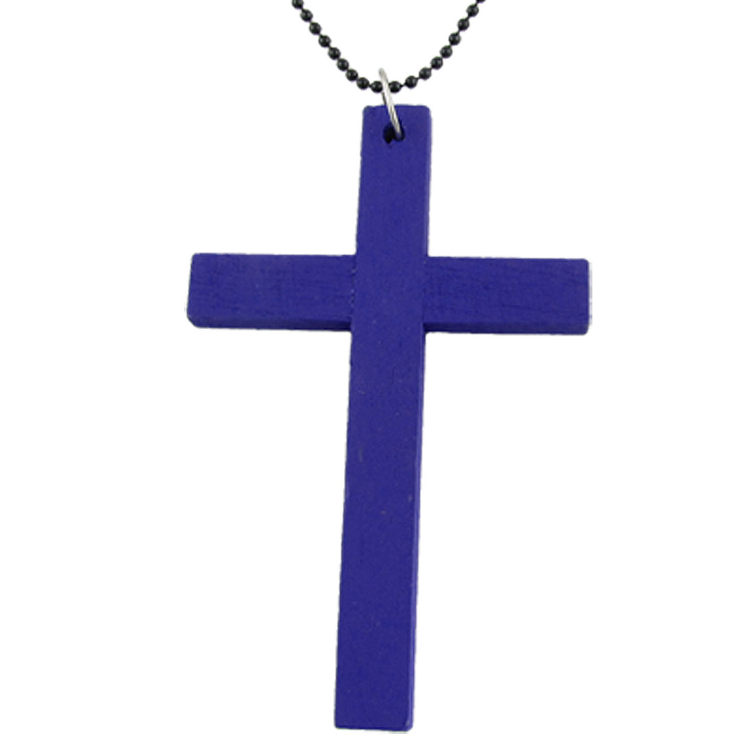 Fashion Blue Wood Latin Cross Necklace w Black Chain