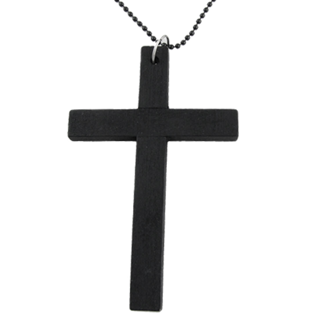 Long Metal Beaded Chain Wooden Cross Pendant Necklace Black