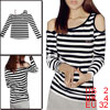 Striped Pattern Off Shoulder Design Long Sleeve Tunic Shirt Black White XS