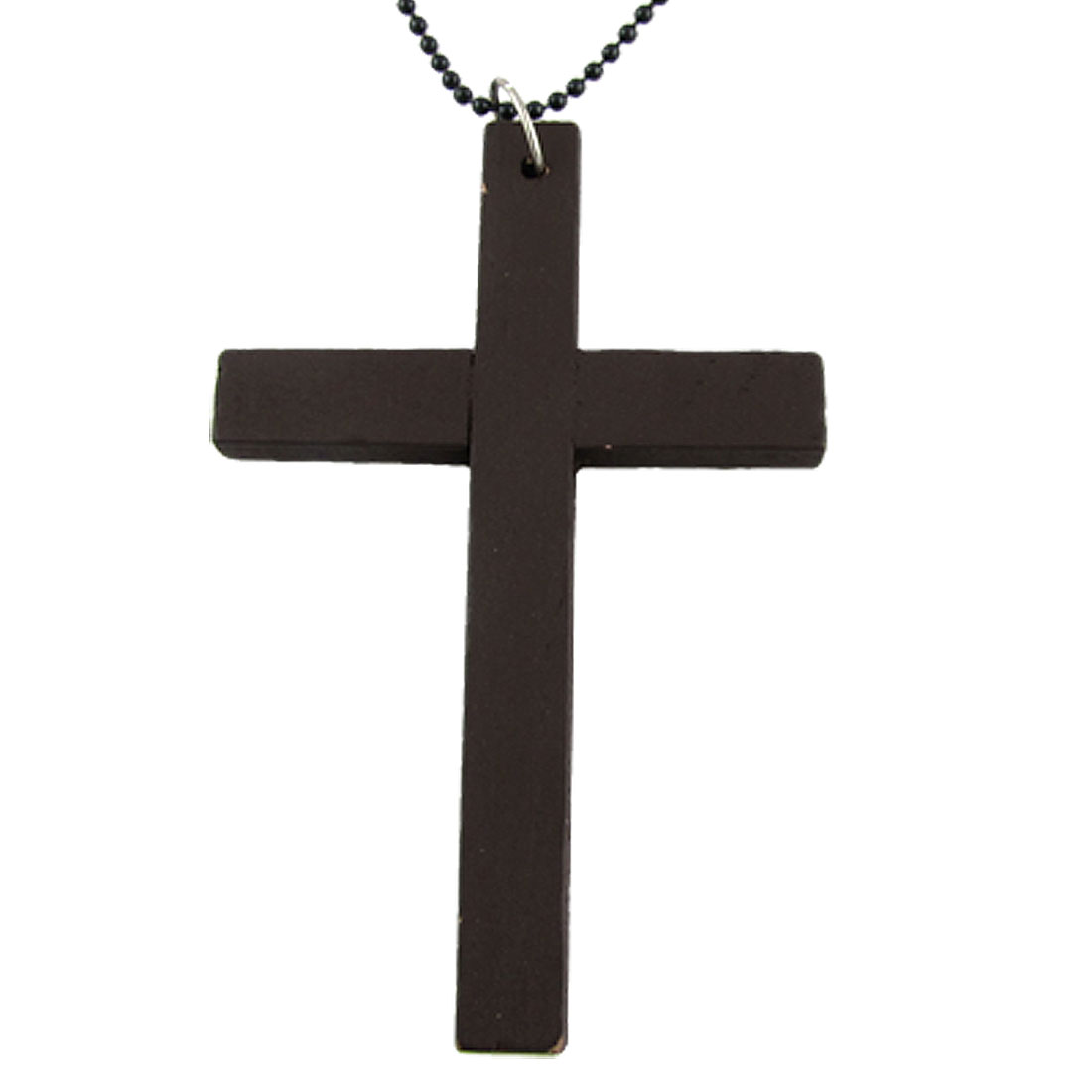 Coffee Color Wooden Latin Cross Pendant Necklace Clothing Decor