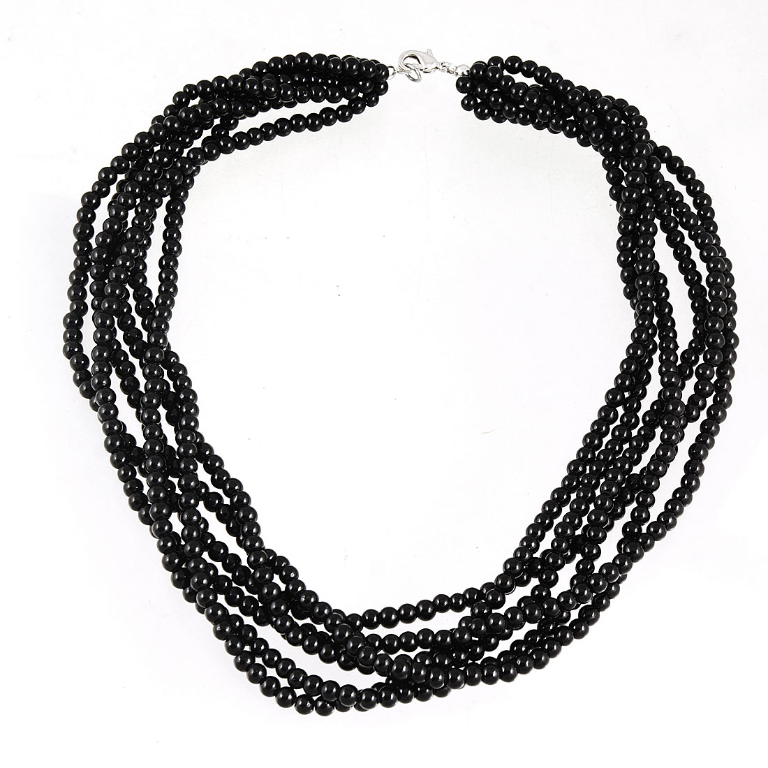 Women Black Plasitc Round Multi String Beaded Bunch Necklace