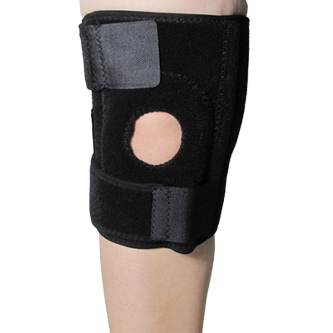 Black Hook and Loop Fastener Adjustable Elastic Knee Support Brace