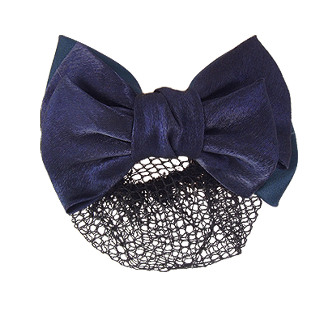 Woman Dark Blue Polyester Bowknot Barrette Snood Net Hair Clip