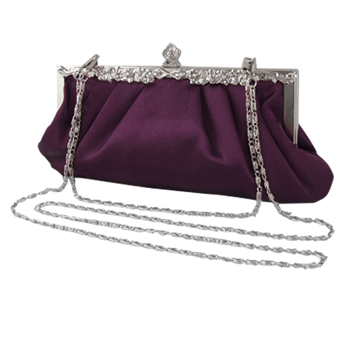 Glitter Rhinestones Accent Metal Frame Wedding Handbag Purple for Women
