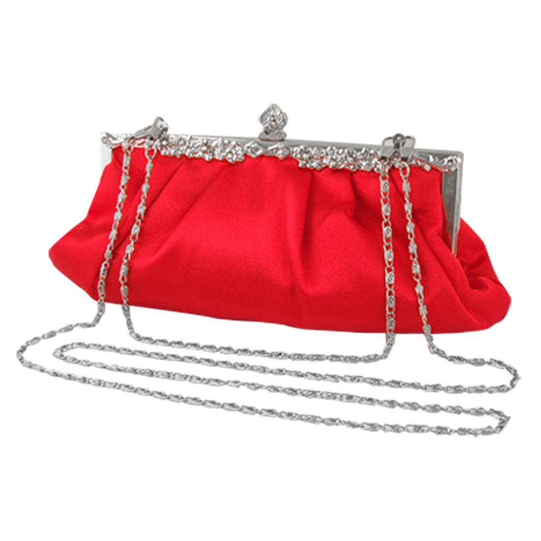 Women Red Nylon Lining Metal Chain Straps Bridal Purse Handbag