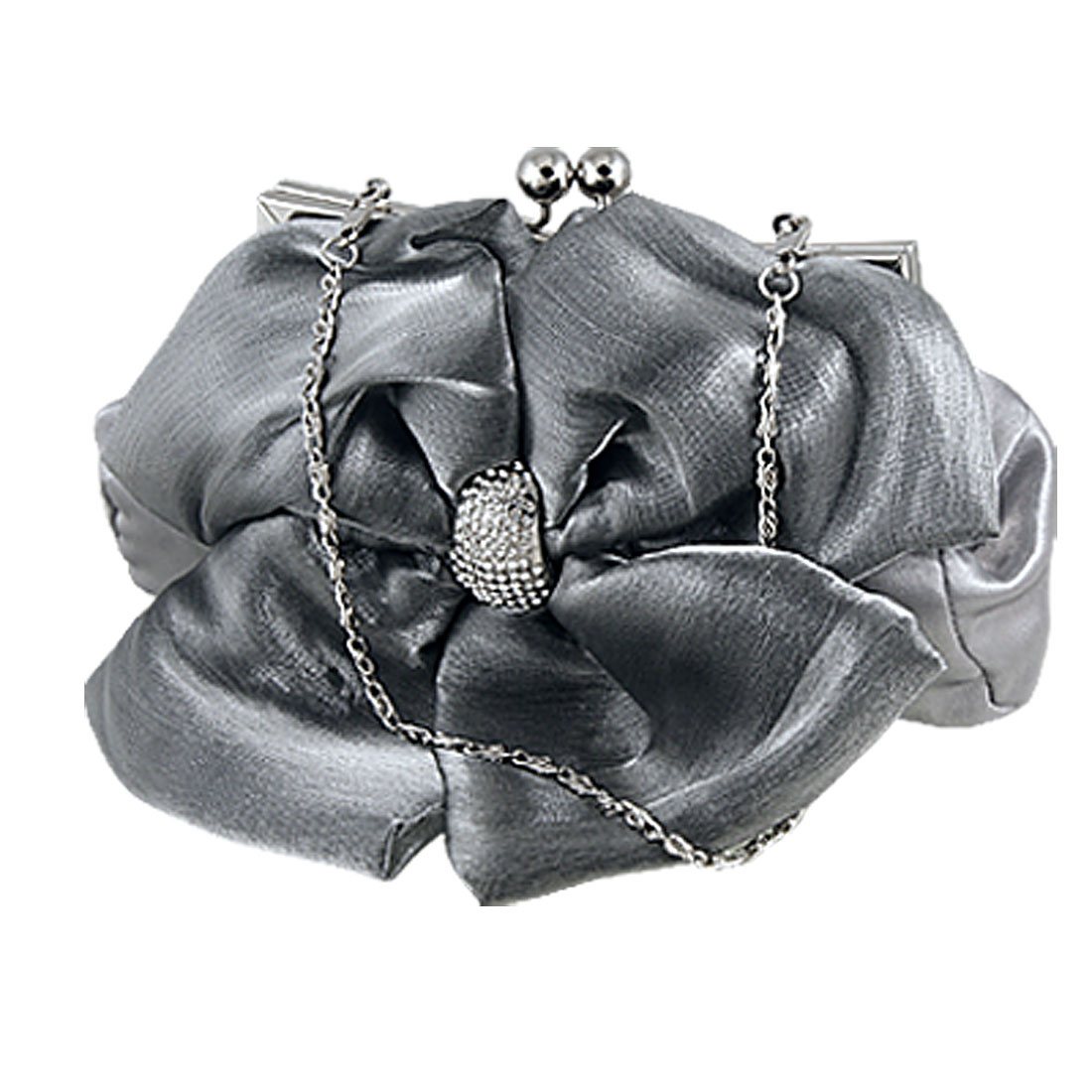 Women Gray Bowknot Accent Rhinestones Inlay Kiss Lock Evening Bag