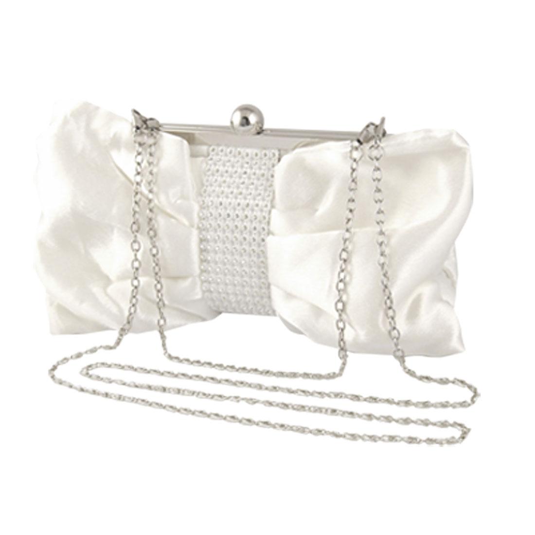 Women Rhinestones Bow Tie Detail Off White Evening Banquet Bag