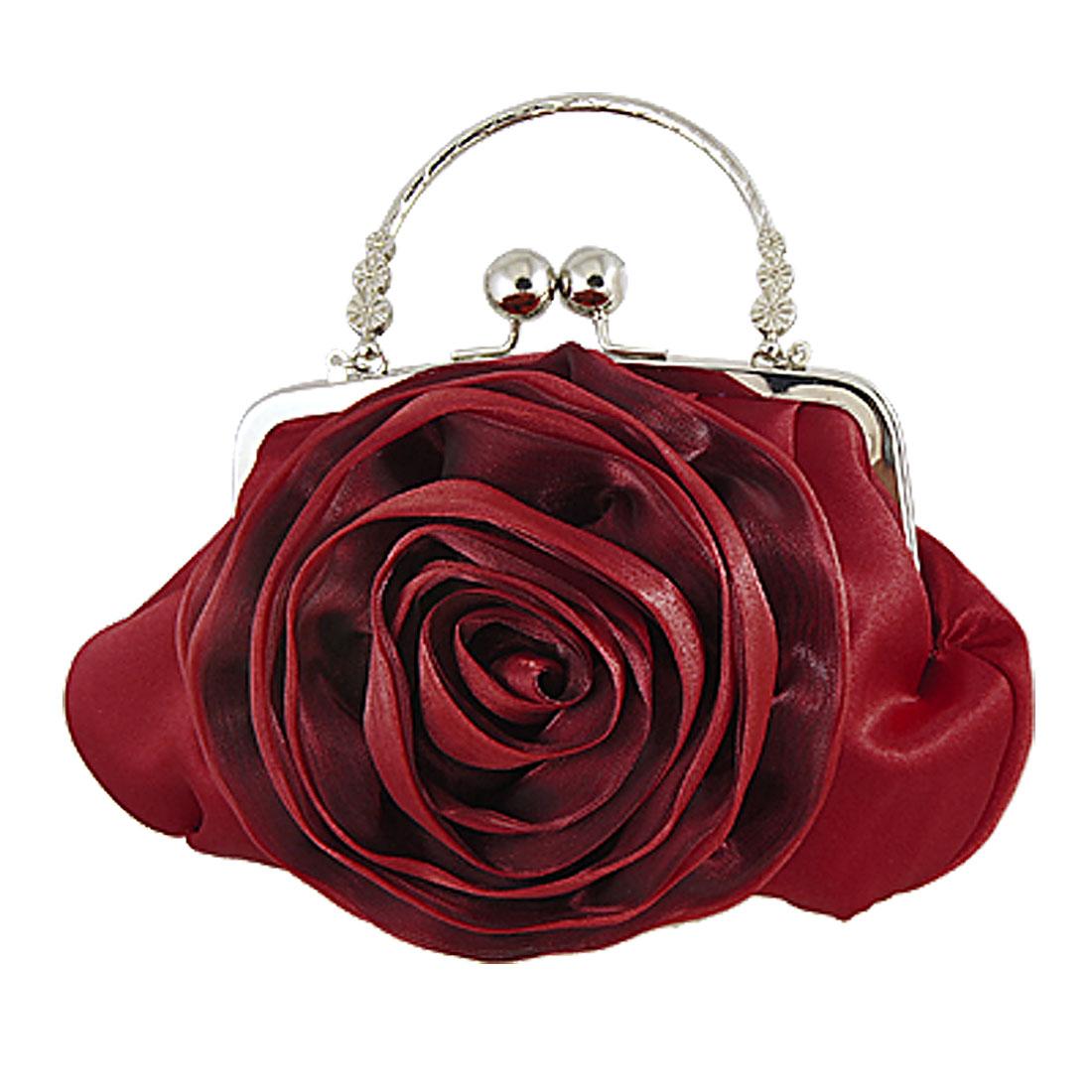 Women Kiss Lock Closure Flower Accent Bridal Handbag Red