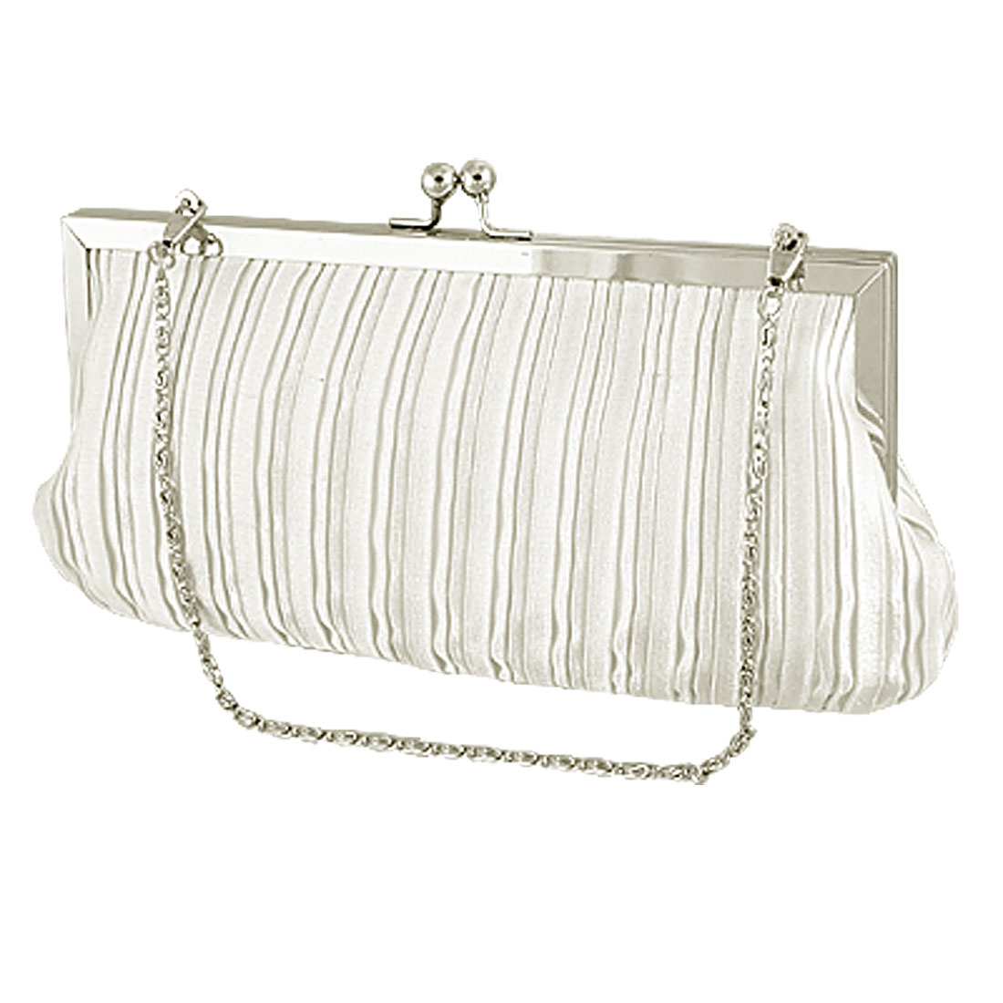 Women Kiss Lock Fastener White Evening Banquet Bag w Chain Strap