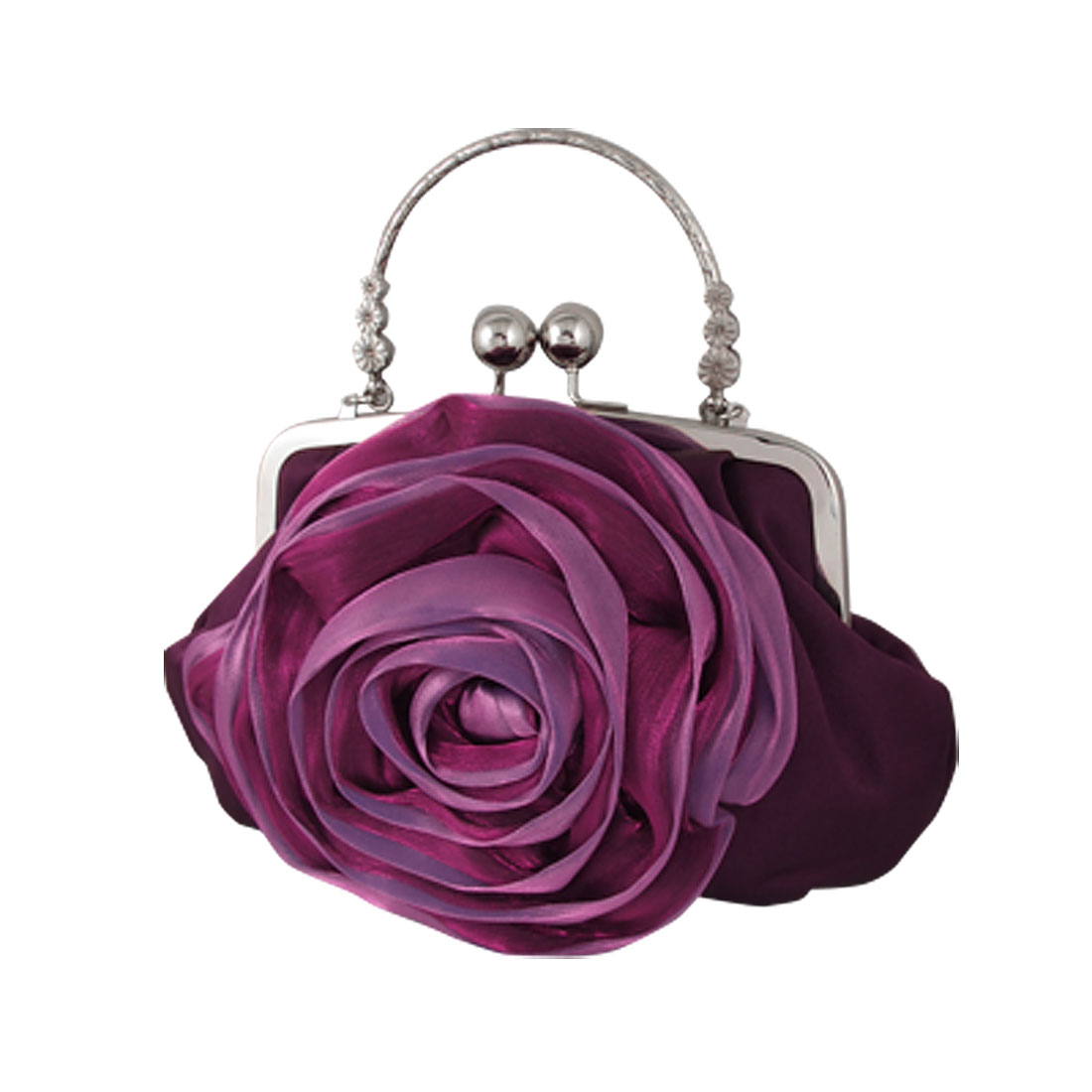 Kiss Lock Closure Flower Evening Clutch Bag Purple for Women