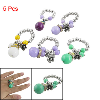 Woman 5 Pcs Multicolor Beads Linked Flower Pendant Finger Ring US 6 1/2