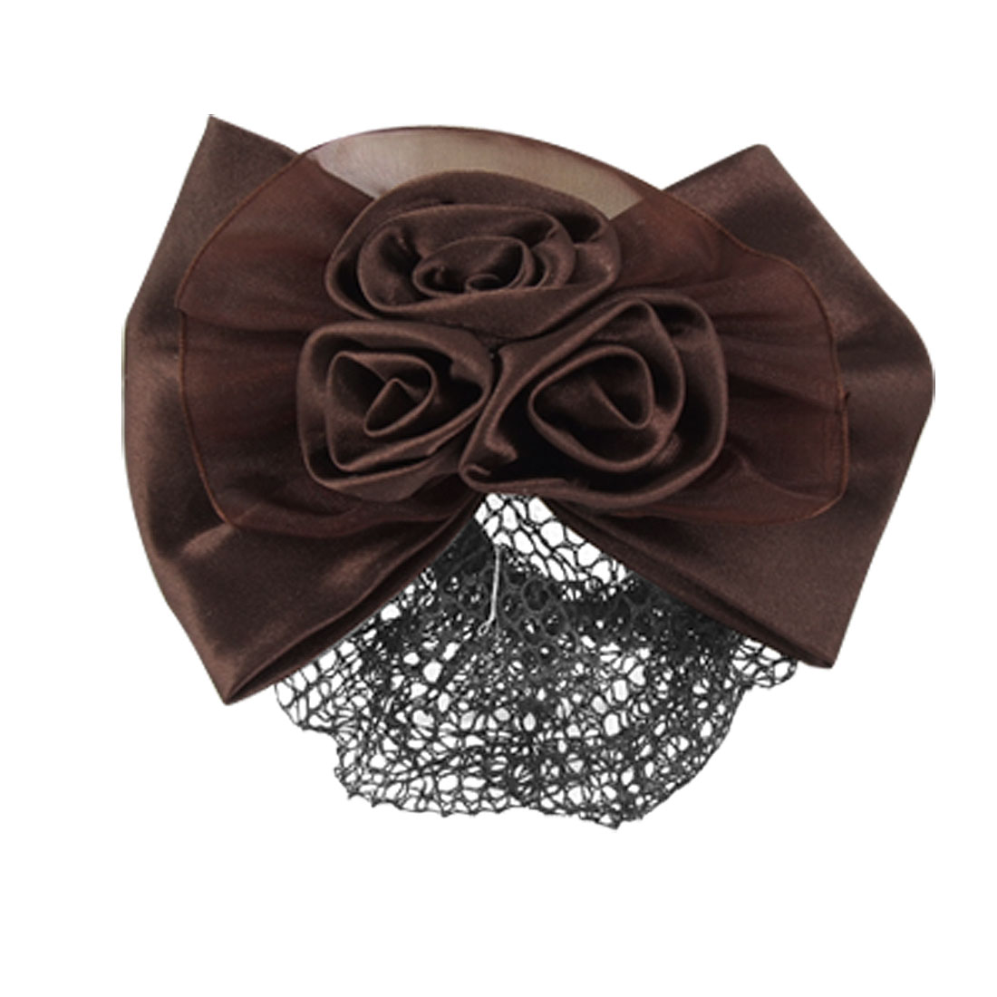 Woman Dark Brown 3D Flower Hair Clip Snood Net Barrette