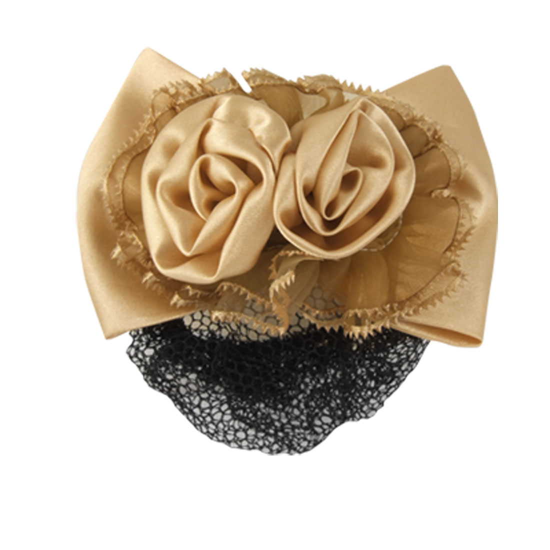 Women Apricot Color 3D Flower Barrette Snood Net Hair Clip