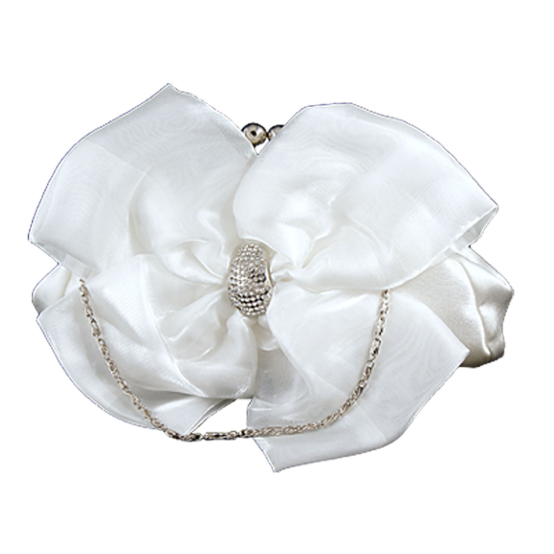 Chain Strap Rhinestone Inlaid Bowknot Evening Handbag White for Women