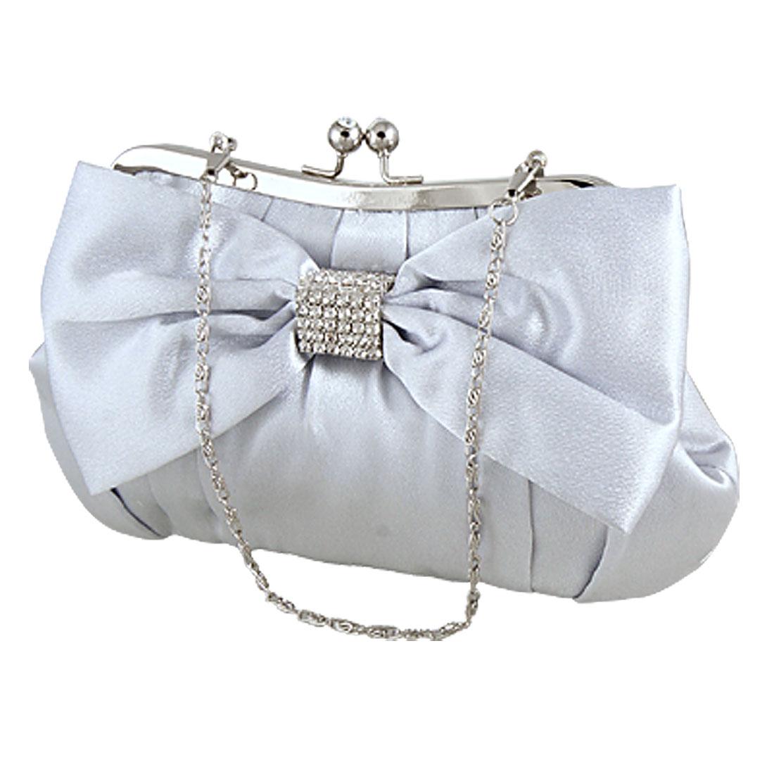 Woman Glitter Rhinestone Bowtie Wedding Clutch Handbag Light Gray