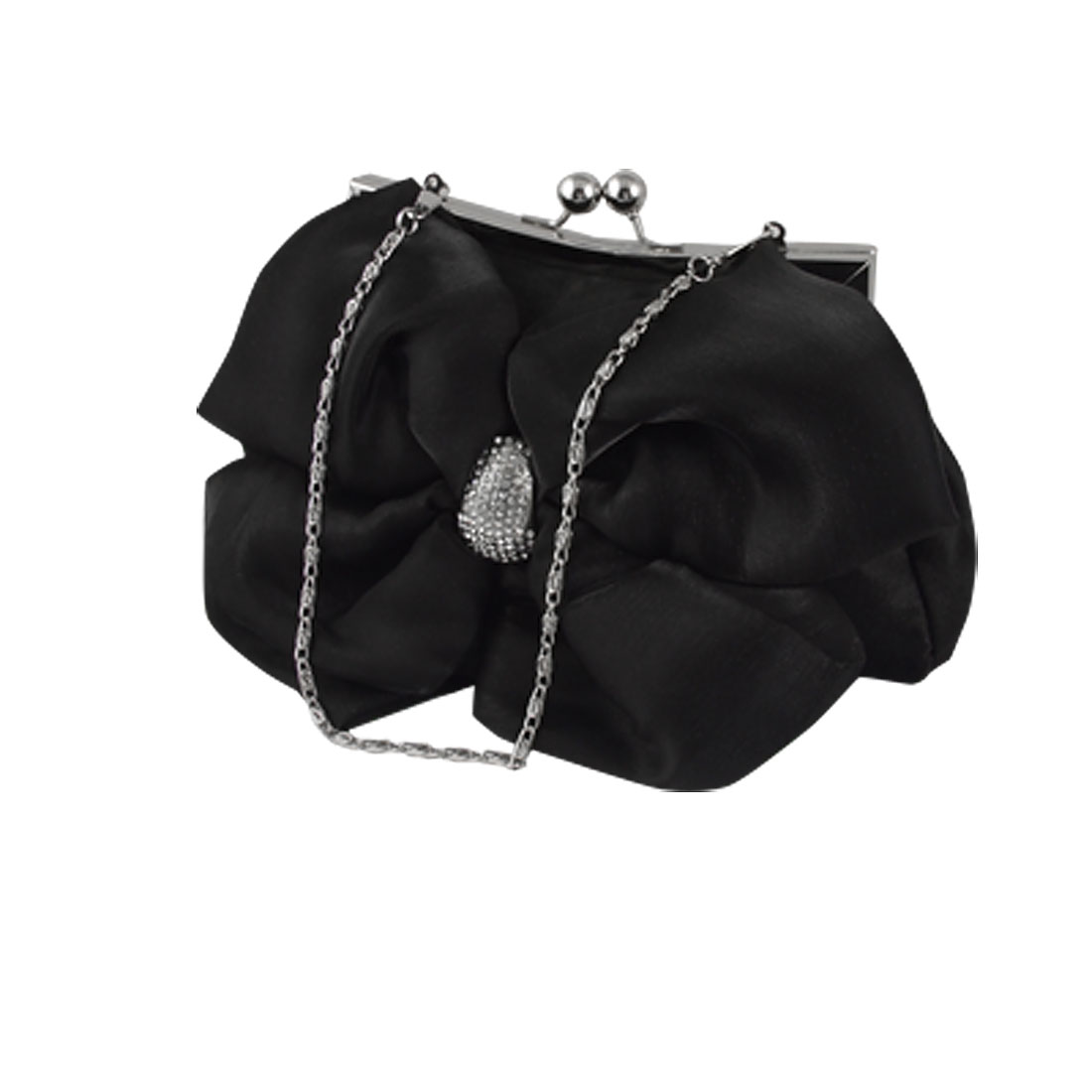 Kiss Lock Clasp Rhinestones Bowknot Bridal Handbag Black for Women