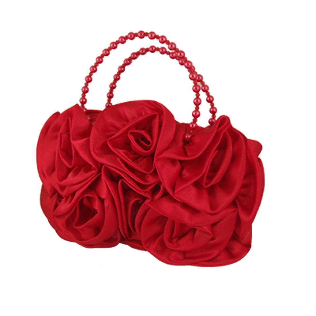 Women Beaded Hand Strap Zipper Closure Red Rose Flower Evening Bag