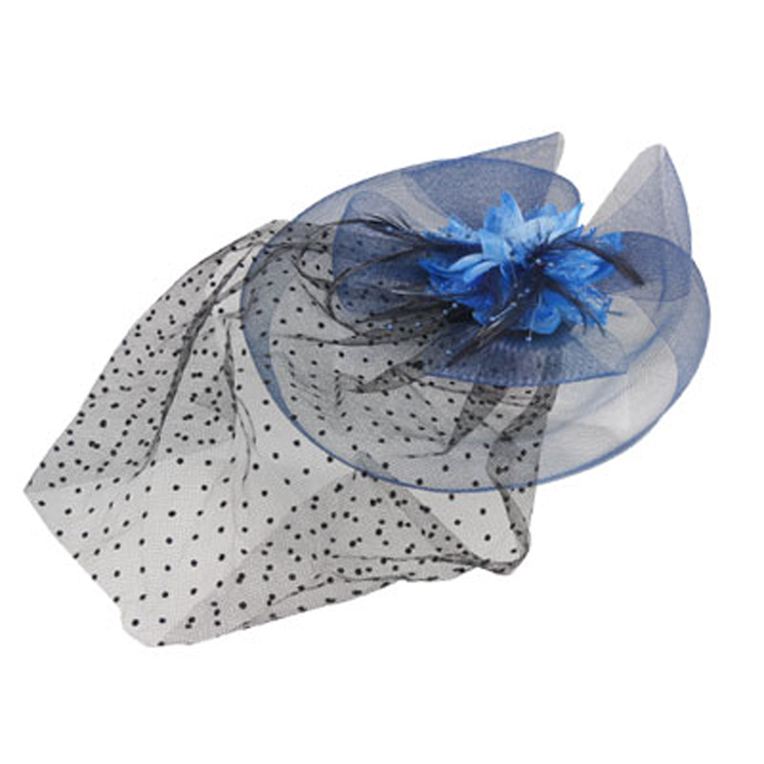 Party Blue Mesh Flower Cocktail Veil Hat Hair Clip Fascinator for Women