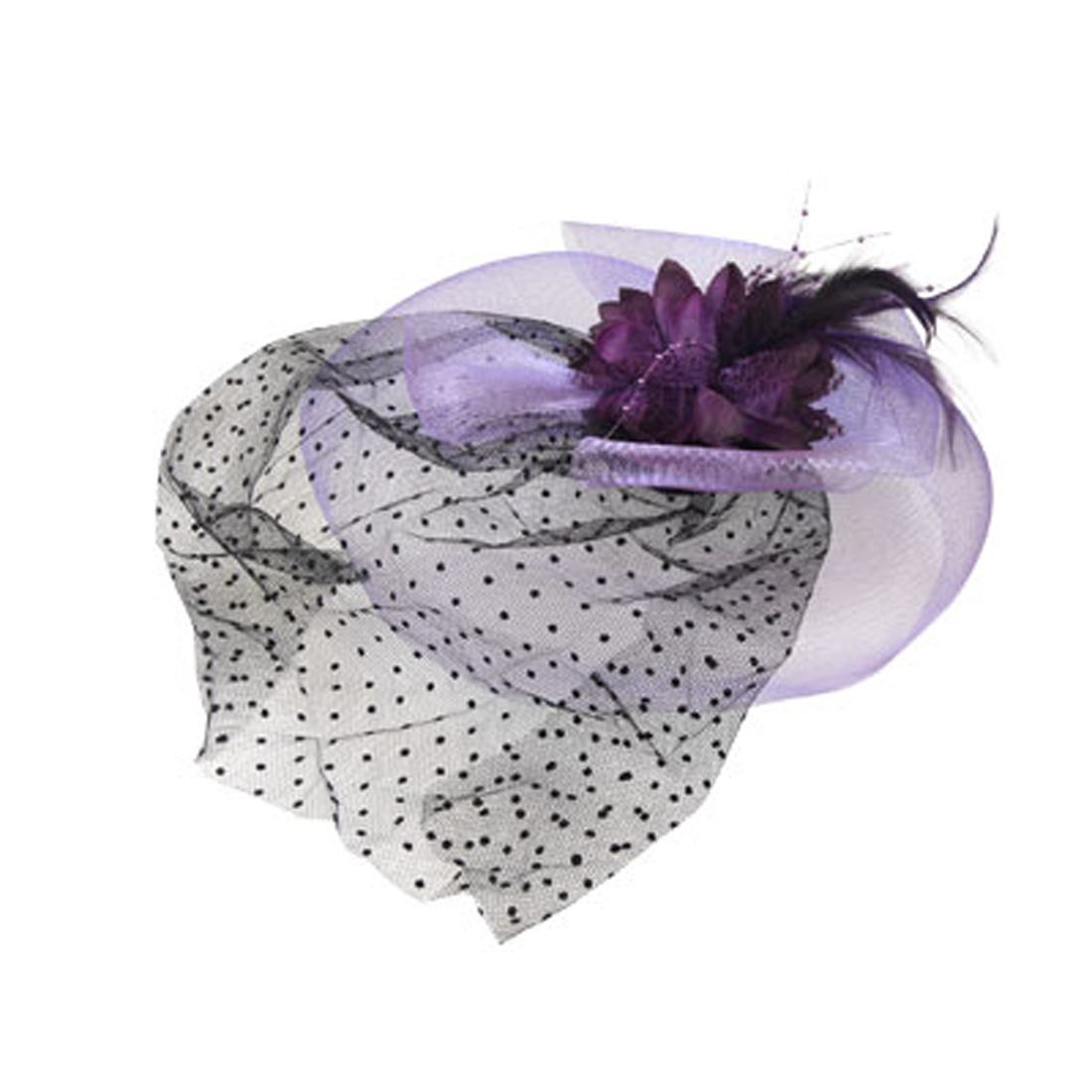Wedding Purple Feather Meshy Flower Cocktail Veil Hat Fascinator