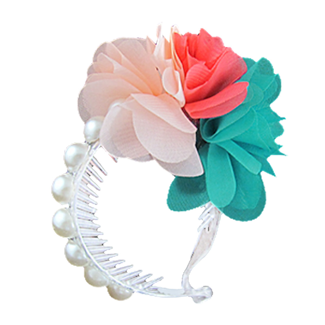 Colored Flower Beads Detail Flexible Comb Ponytail Bun Holder